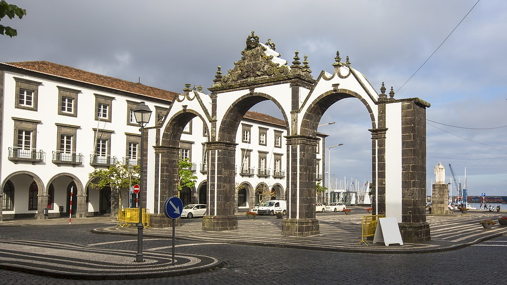 city gates of Ponta Delgada on Sao Miguel Island in the Azores