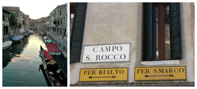 Venice quiet side canal and signs pointing to the Rialto Bridge and Piazza San Marco