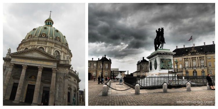 The Marble Church (Marmorkirken) and equestrian sculpture in the courtyard of Amelienborg Palace in Copenhagen, with storm clouds overhead