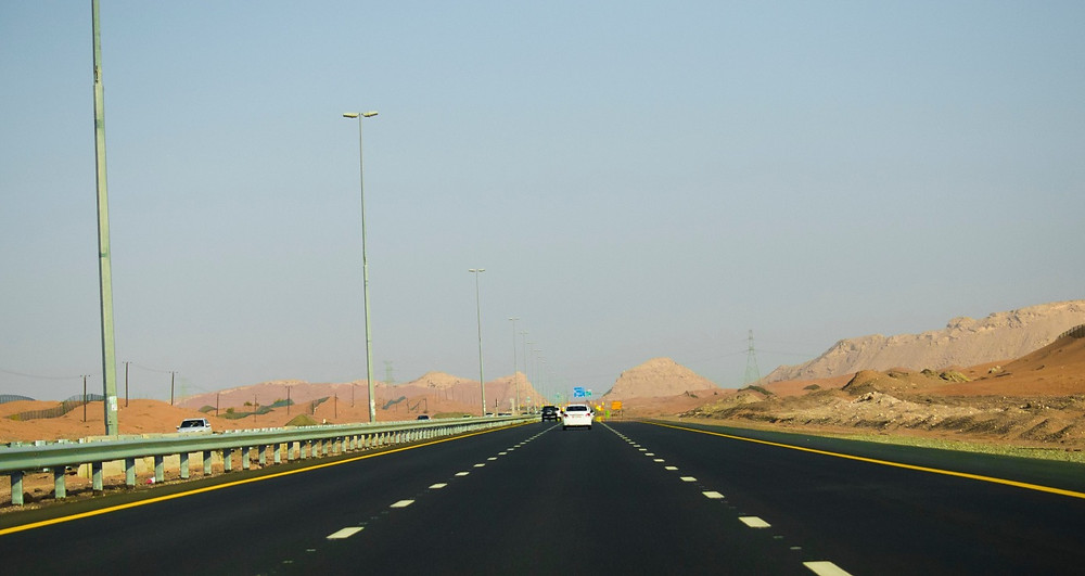 freeway through the desert in the United Arab Emirates