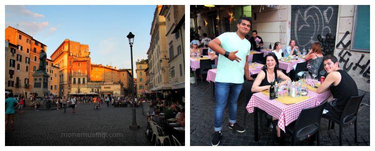 Evening at Rome's Campo de' Fiori