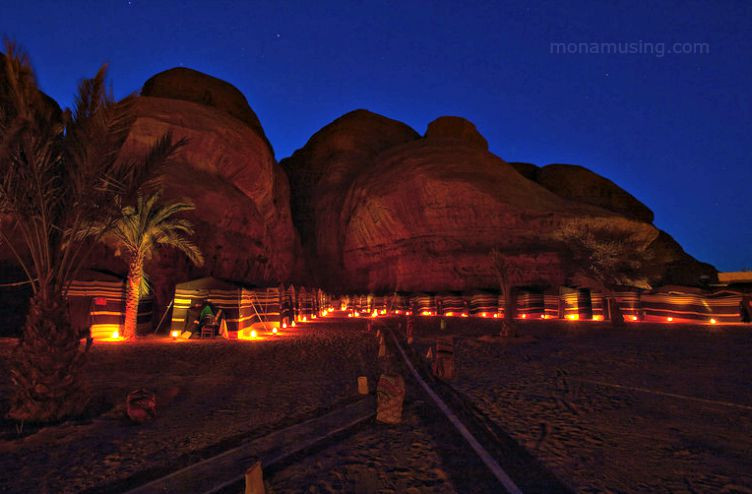 evening at a tented camp in the Wadi Rum desert, Jordan