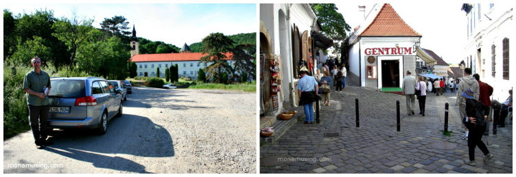 man standing by a car in front of a monastery Serbia and the intersection of a cobblestone street in Szentendre