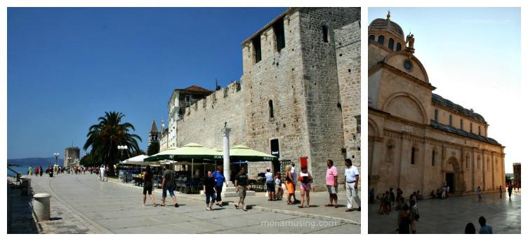 Promenade in Trogir and cathedral in Sibenik, Croatia