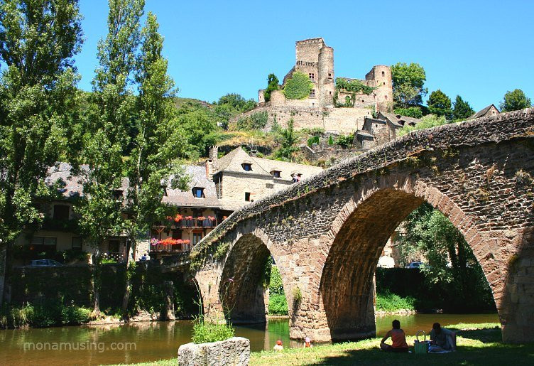 stone bridge in Belcastel, village in the south of France