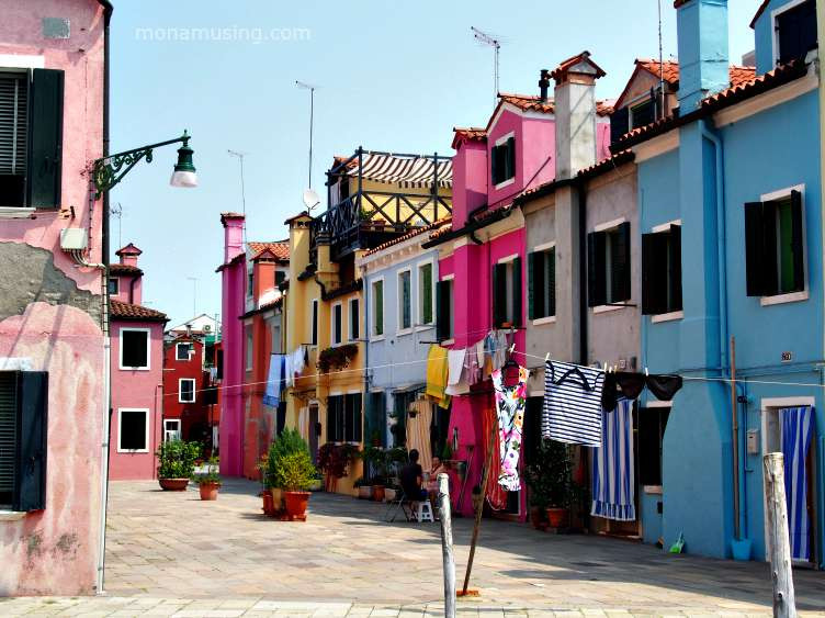 colourful buildings and laundry on Burano Island, Italy