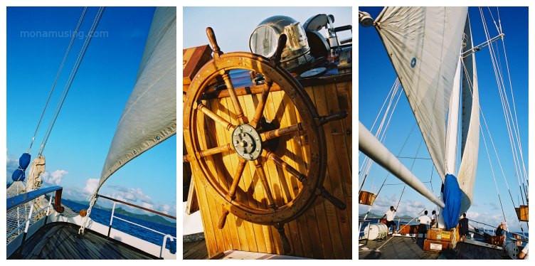 Tall ship sailing in the Grenadines, Caribbean