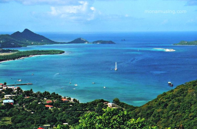 turquoise waters off the coast of the Caribbean island of Carriacou, part of St. Vincent and the Grenadines
