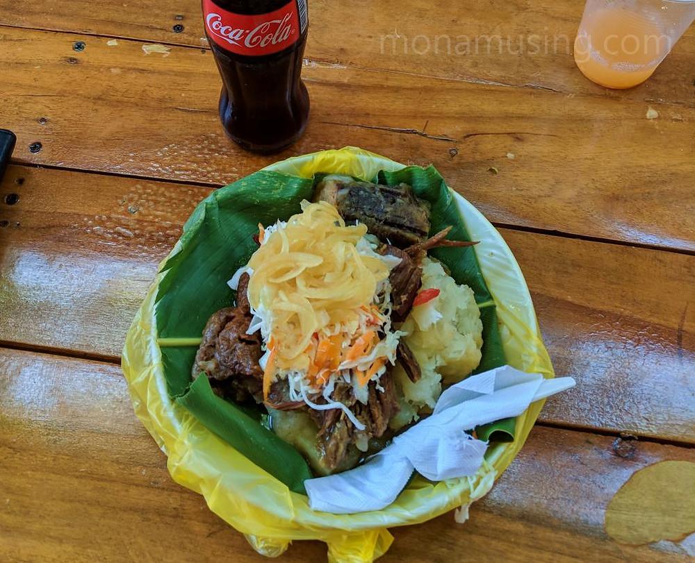 A dish of baho, regional specialty of Masaya, Nicaragua