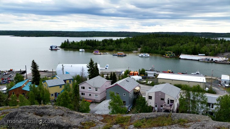 view of Yellowknife Bay and houseboats around Joliffe Island from the Bush Pilots Monument
