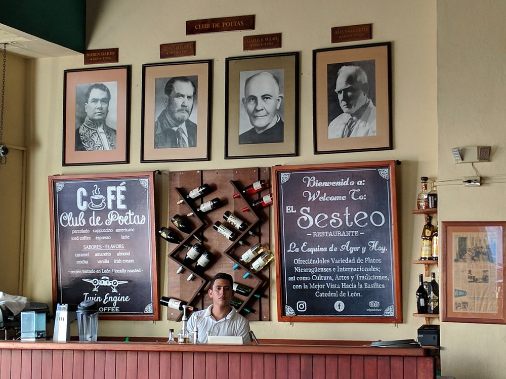 the bar at the Poets Club Cafe in Leon, Nicaragua