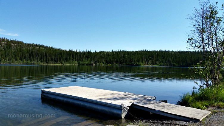 boat launch and lake view along Ingraham Trail near Yellowknife NWT