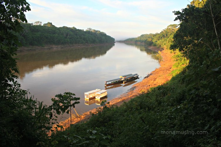 boats moored on a bend in the Tambopata River in the Amazon rainforest, Peru at first light