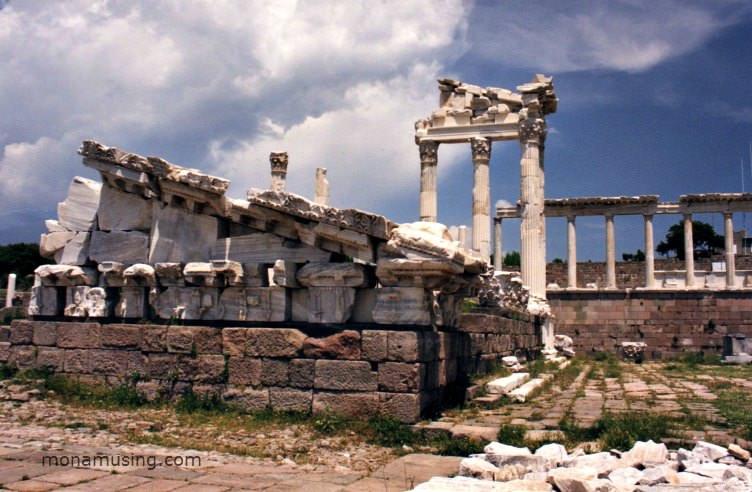 Ruins of the Temple of Trajan in Pergamum, Turkey
