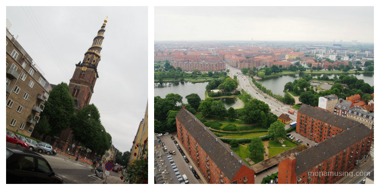 The spiral bell tower of Vor Frelsers Kirke (Our Saviour's Church) and views of Copenhagen from the top