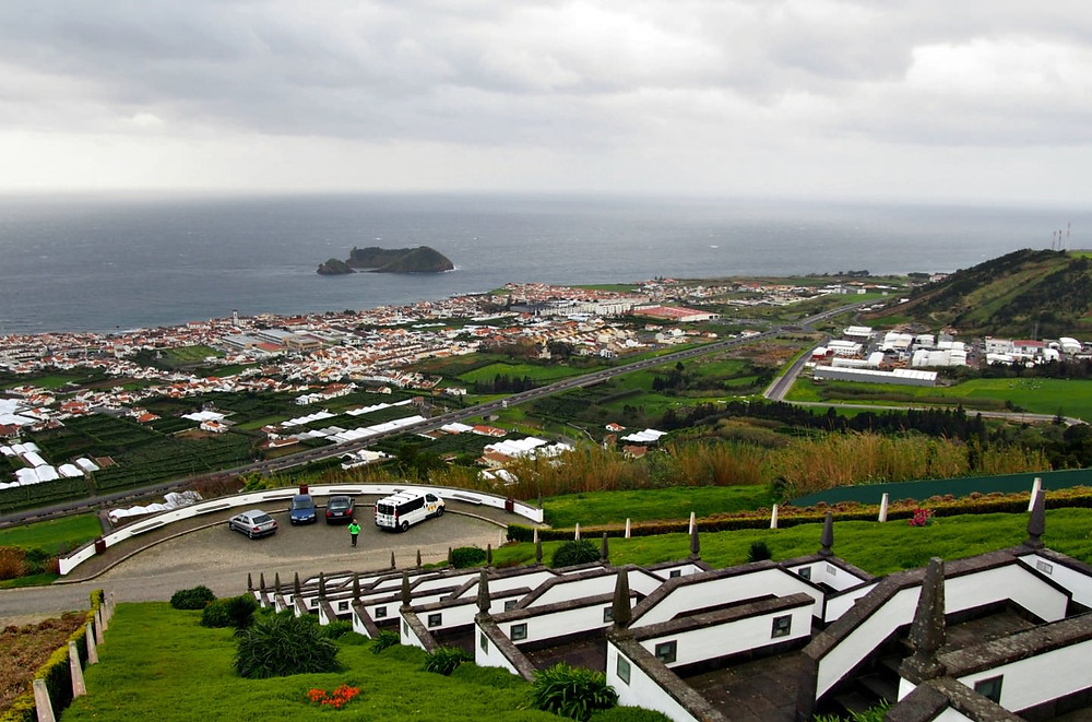 Red Bull cliff diving island viewed off the coat of Vila Franca de Campo in the Azores