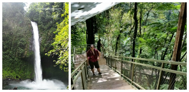 la fortuna waterfall and the staircase leading down