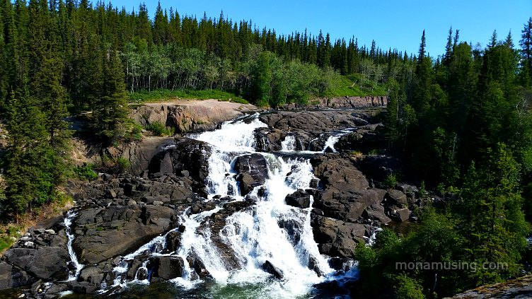 View of the waterfalls at the end of Cameron Falls Trail near Yellowknife, NWT