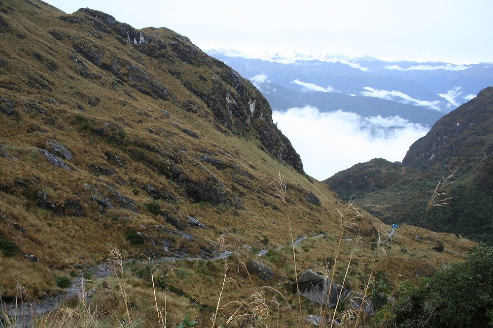 Part of the Inca trail running through the Andes Mountains