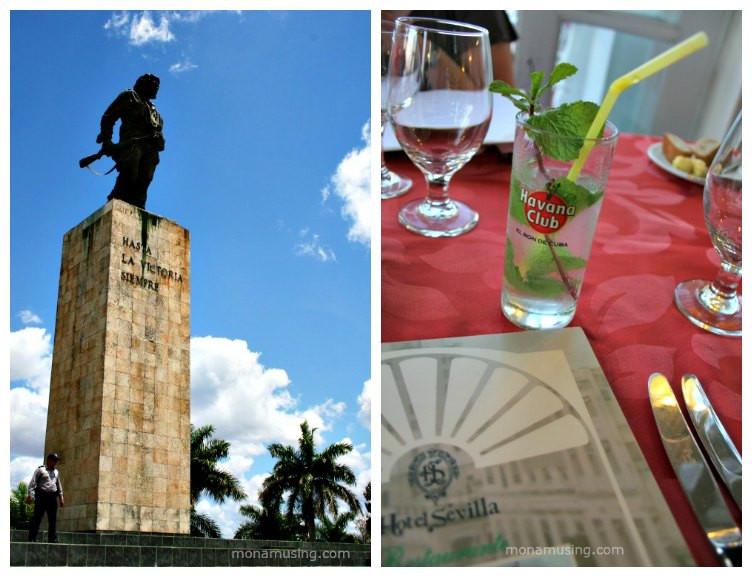 Che Guevera monument and a typical mojito cocktail in Cuba