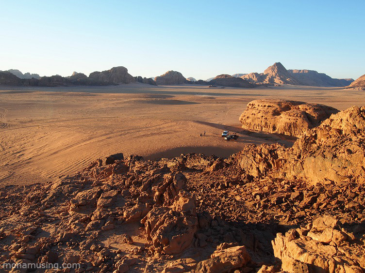 cliffs and red gold sand just before sunset in Jordan's Wadi Rum desert
