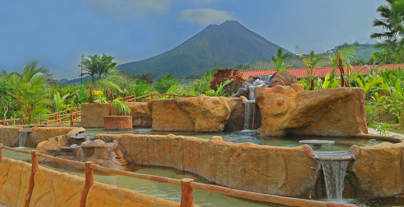 view from the hot springs at Volcano Lodge in Arenal Costa Rica