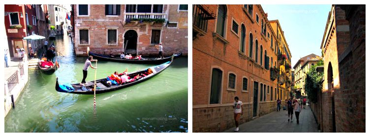 gondolas at a canal intersection and a pedestrian street scene in Venice