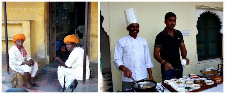 men in turbans and a cooking demonstration at Rawla Jojawar in Rajasthan