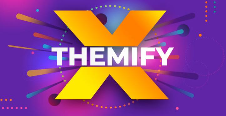 Themify Logo Bright Orange X on Purple Background
