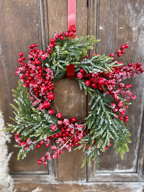 Iced Red Berries Wreath