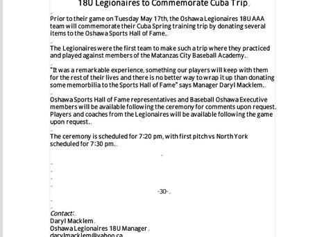 Legionaires to Commemorate Cuba Trip