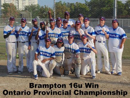 Brampton Royals 16u Win Ontario Provicial Championship