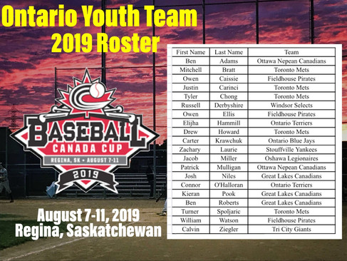 2019 Ontario Youth Team Roster