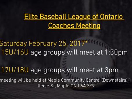 Elite Baseball League of Ontario  Coaches Meeting