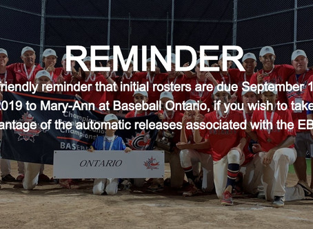 Rosters Due September 11