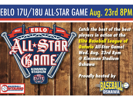 Rosters for the 2017 Elite Baseball League of Ontario EBLO 17u/18u All-Star Game