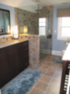 Karen's H&D Bathroom Remodeling Warminster Pa Quakertown Pa Vanities Photo Album of Bath Remodeling, Bath Cabinets Granite Marble Counter Tops Ceramic tile, Rain shower head