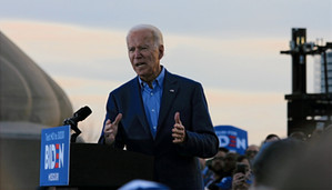2020 presidential candidate and former Vice President Joe Biden emphasizes the importance of casting a vote in upcoming primaries —specifically Missouri's primary —to a crowd of supporters and attendees in Kansas City. Photo by Ben Henschel