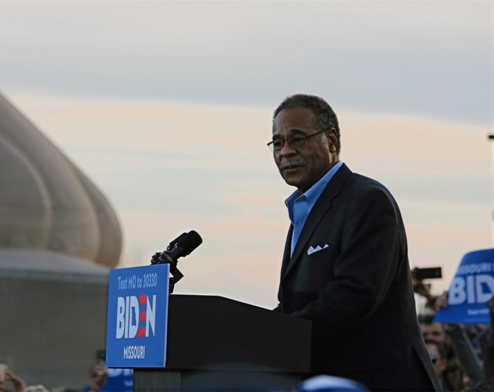 U.S. Rep. Emanuel Cleaver II (D-MO) addresses a familiar and friendly crowd of Kansas City residents, presenting his endorsemenet for, and introducing, 2020 presidential candidate and former Vice President Joe Biden. Photo by Ben Henschel.