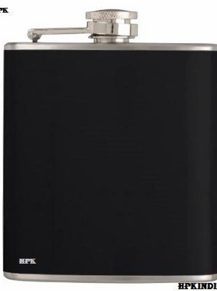 Black stainless steel flask and funnel