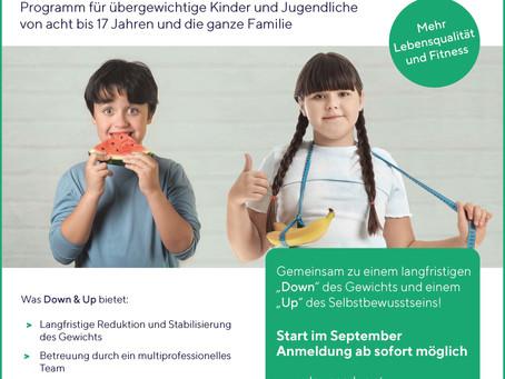 Down & Up: Programm für übergewichtige Kinder und Jugendlichevon acht bis 17 Jahren und die ganze