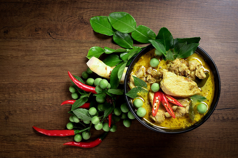 Thai food, green curry chicken with coco