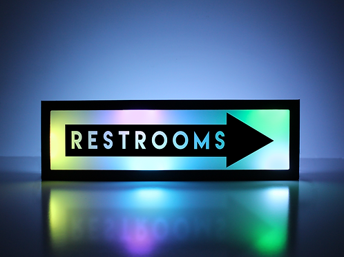 Restrooms This Way (Right) Sign