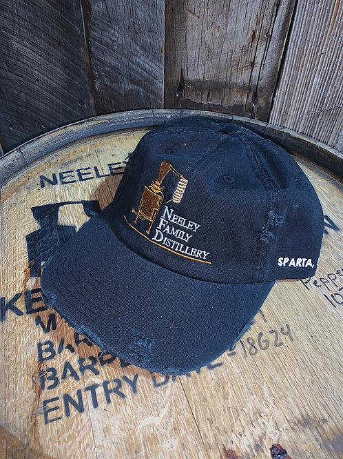 Embroidered Distressed Buckle Hat