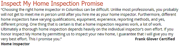 Home Inspection Promise For Home Inspector at Inspect My Home Property Inspections Dublin Ohio