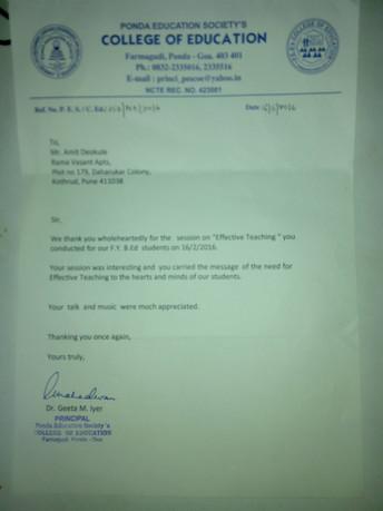 Awards and Achievements - Letter of Appreciation Ponda Education Goa.jpg