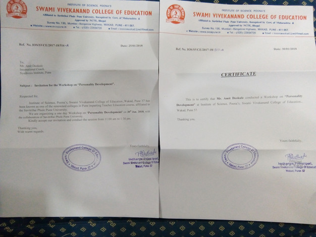 Awards and Achievements - Letter of Appreciation Swami Vivekanand College of Education Wakad.jpg