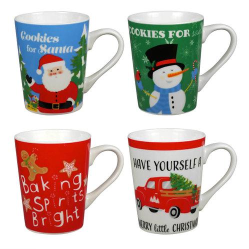 Printed Stoneware Christmas Mug