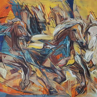 Celebration horses 1,3x4ft,rm12000,2018.