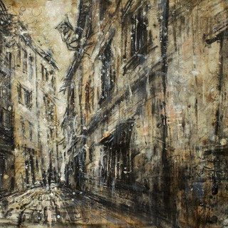 Alley in Salzburg 2015  charcoal and oil